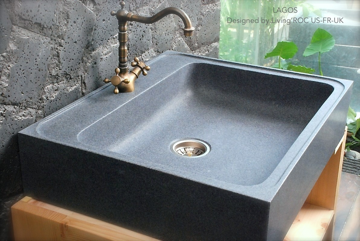 Evier en Pierre Granit véritable spécial cuisine 13x13 LAGOS