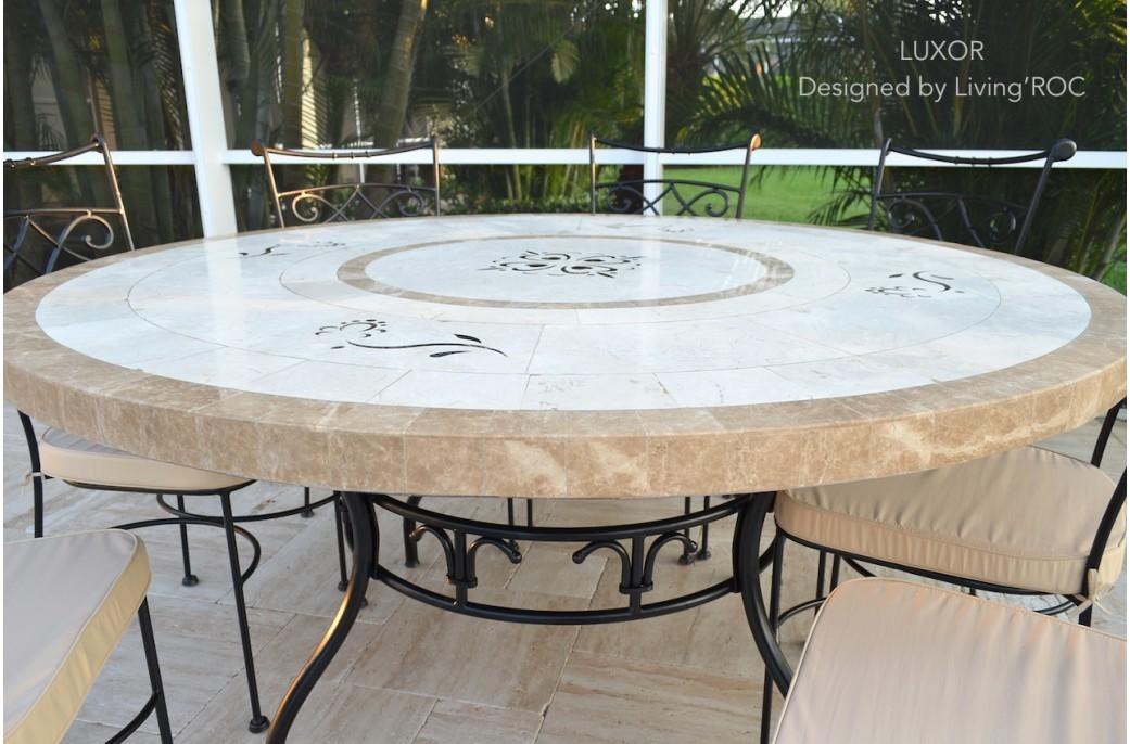 Table de jardin ronde 160 mosaïque de marbre LUXOR