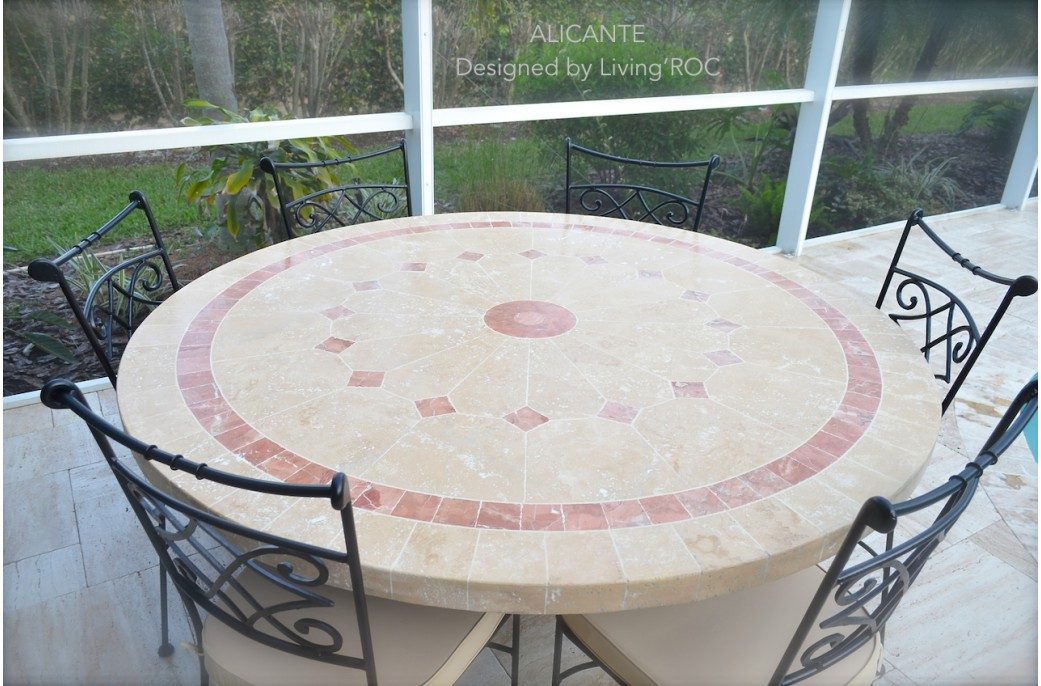 Table de jardin en mosaique marbre travertin alicante 4 for Table de sejour ronde