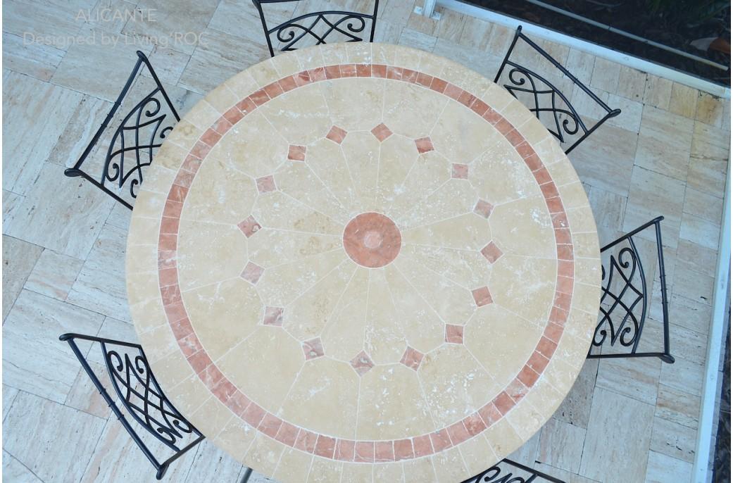 Table de jardin mosaïque de marbre ronde 125-160cm - ALICANTE
