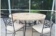 Table de jardin mosaïque de marbre ronde 125 160cm ALICANTE