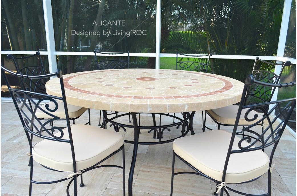 Table de jardin en mosaique marbre travertin Alicante + 4 chaises ...