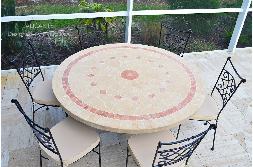Table de jardin en mosaique marbre travertin alicante 4 chaises en fer forg - Table de jardin ronde robin naterial ...