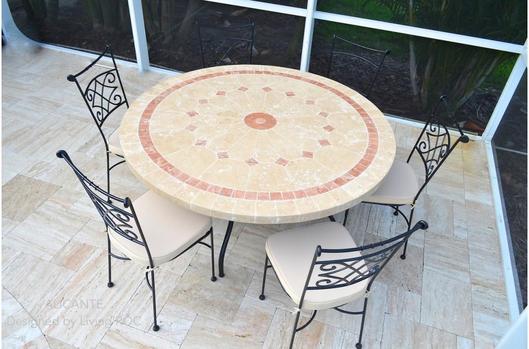 Table de jardin en mosaique marbre travertin Alicante + 4 chaises en ...