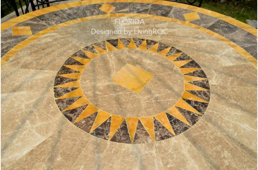 Table ronde Mosa 125 en mosaïque de marbre pour extérieur et ...