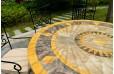 Table de jardin mosaïque ronde de marbre 125-160 FLORIDE