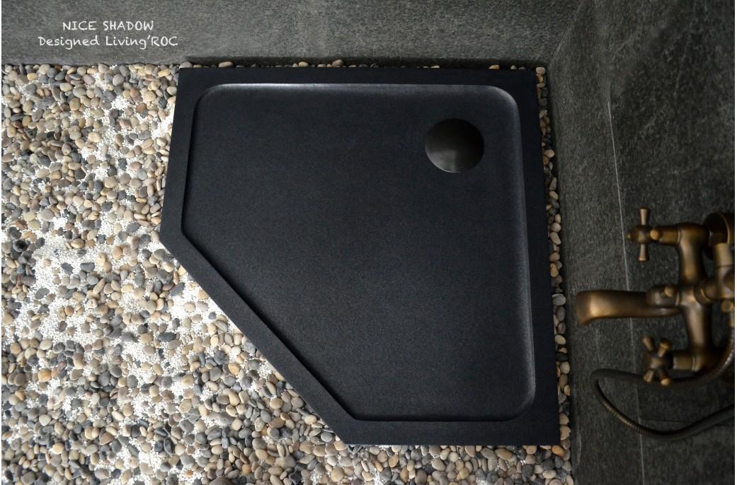 Receveur de douche pierre penta 97x97 granit noir nice shadow - Receveur douche pentagonal ...