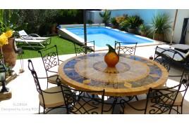 Table de jardin mosaique ronde de marbre 125 FLORIDE