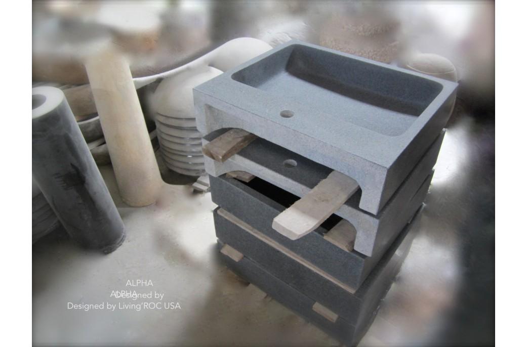 vasque pierre grise Lavabo Vasque granit gris pierre trou robinetterie intégré - ALPHA