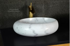 Vasque marbre Blanc oblongue salle de bain COCOON WHITE