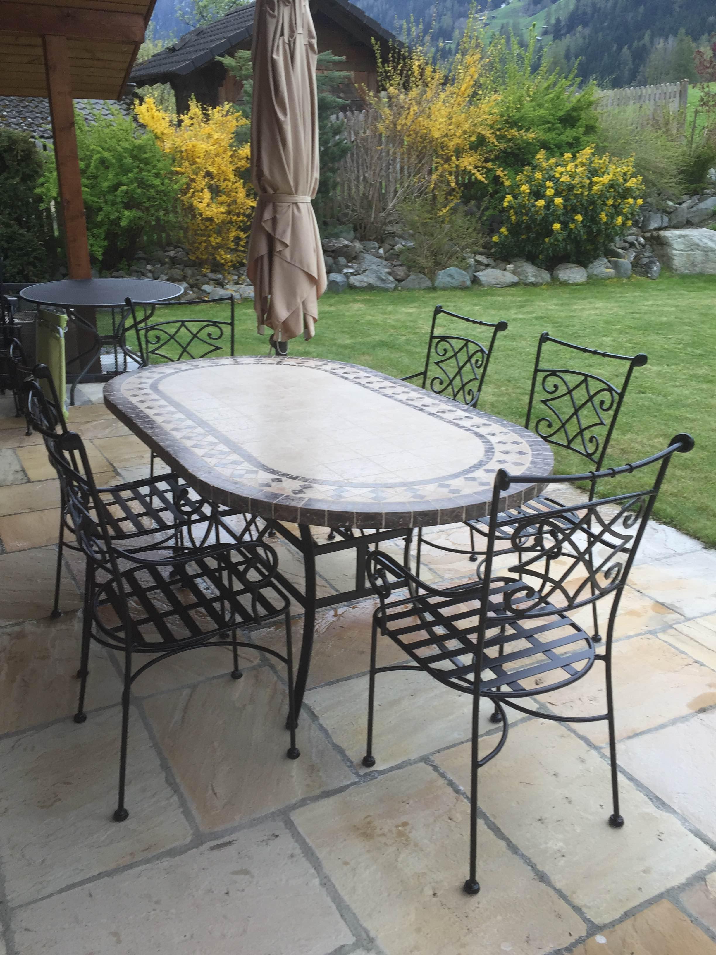 Table De Jardin Mosaïque 240-180-160cm Ovale Marbre