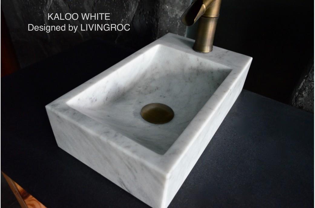 Lave Main En Pierre Marbre Blanc 40x23cm Kaloo White