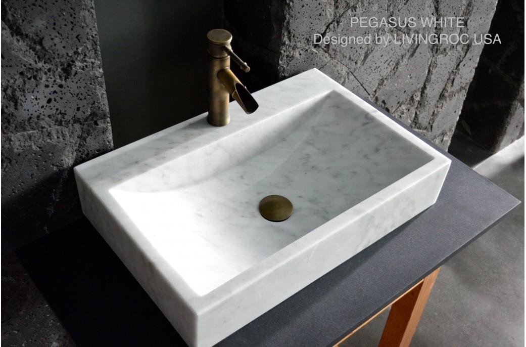 Vasque 60x40 marbre Blanc trou de robinet PEGASUS WHITE