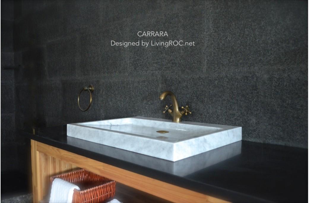 vasque en marbre de carrare v ritable 70x50 calvi white. Black Bedroom Furniture Sets. Home Design Ideas
