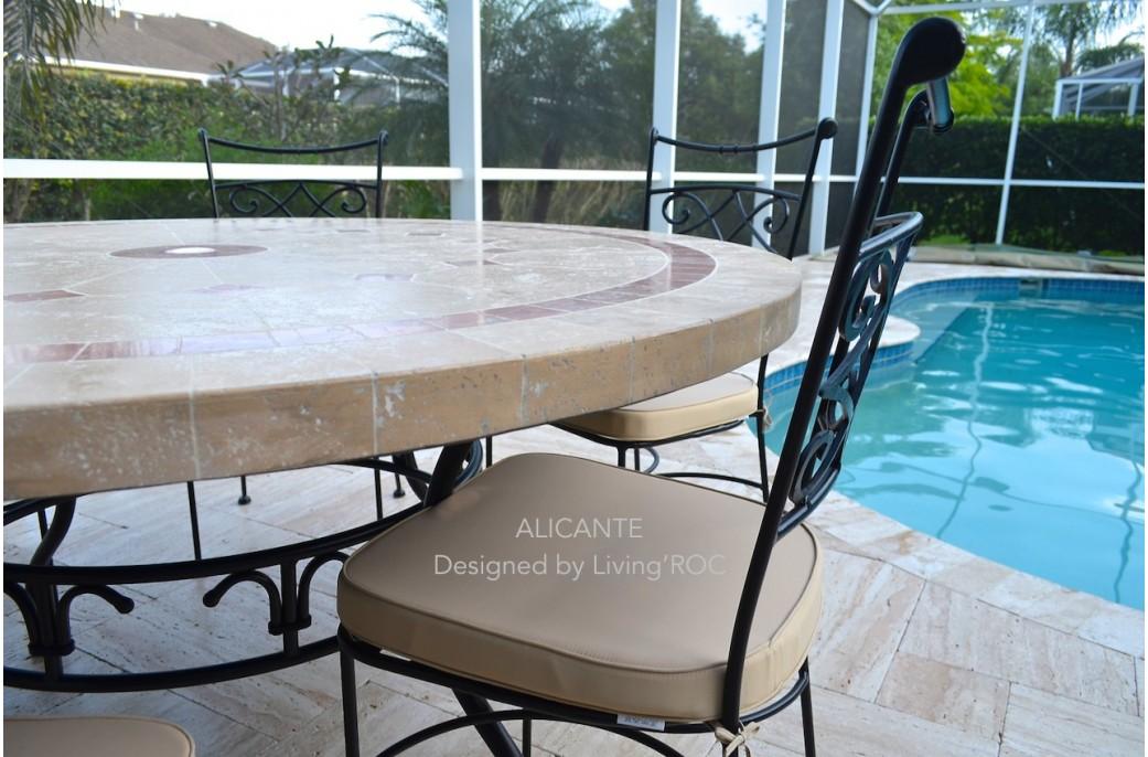 chaise en fer forg plein diamond et coussin lavable living 39 roc. Black Bedroom Furniture Sets. Home Design Ideas