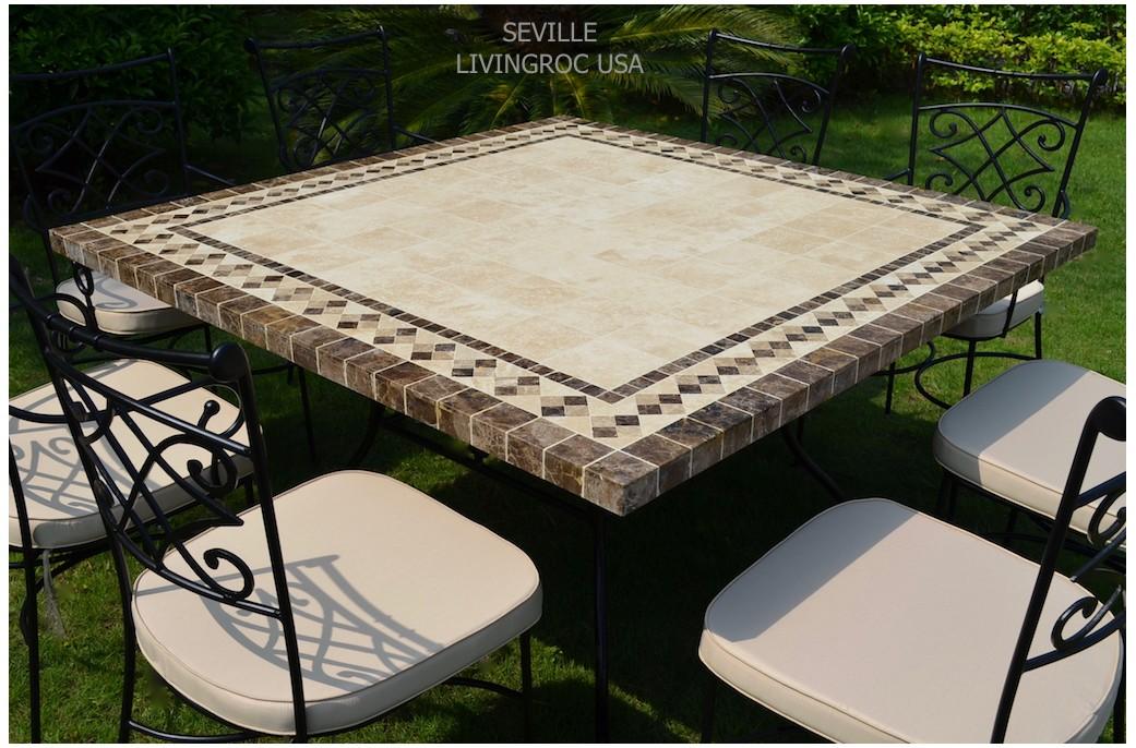 Table de jardin carr e 140cm mosa que pierre marbre - Table de jardin en marbre ...