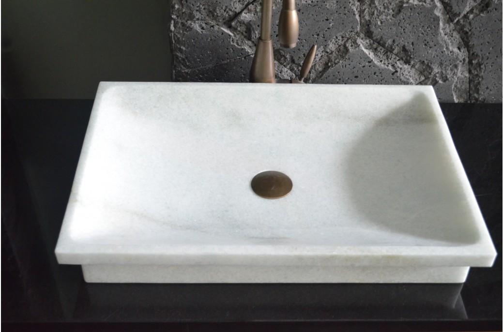 vasque pierre blanche marbre cristal 60x40 crystal. Black Bedroom Furniture Sets. Home Design Ideas