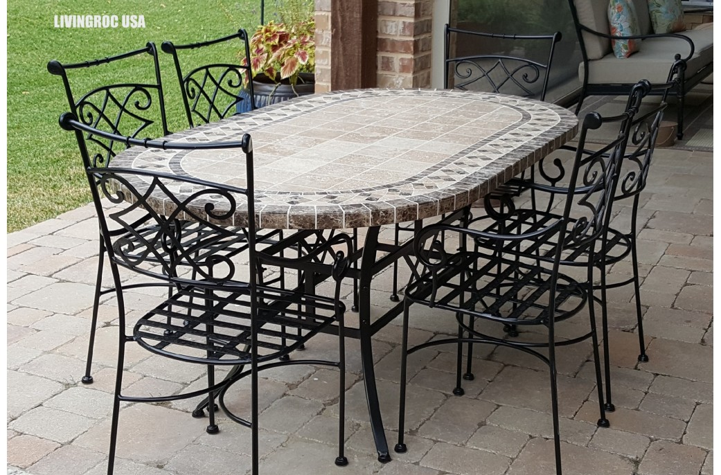 stunning table de jardin mosaique ovale images amazing. Black Bedroom Furniture Sets. Home Design Ideas