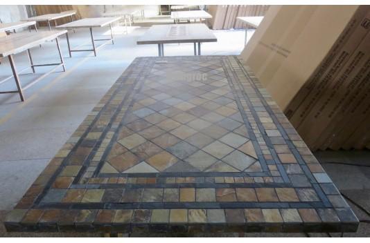 Table de jardin mosaïque 160-200-240cm en ardoise décorative - ERABLE