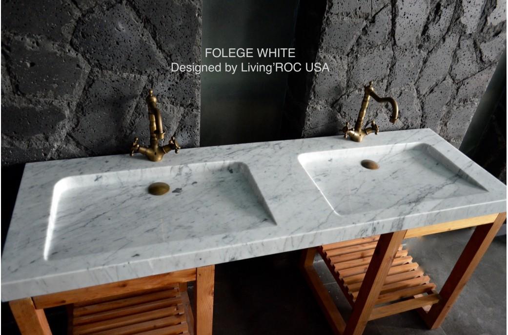 Double Vasque Luxe en Marbre de Carrare 160x50 Carrara FOLEGE WHITE