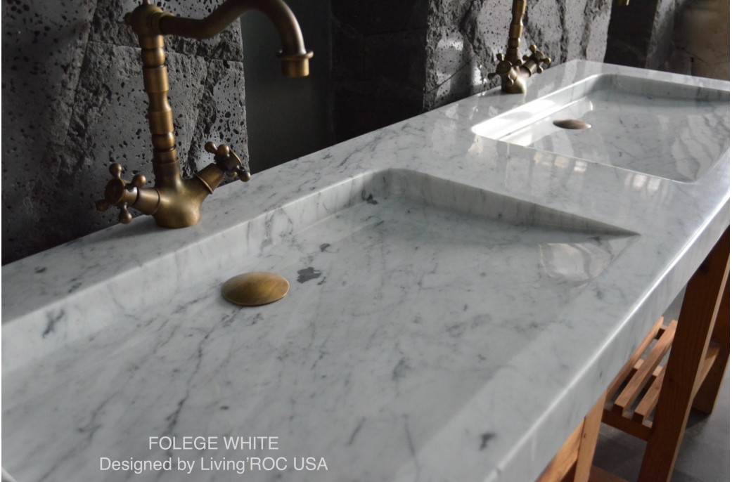 double vasque luxe en marbre de carrare 160x50 carrara. Black Bedroom Furniture Sets. Home Design Ideas