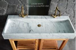 Double vasque en marbre de Carrare véritable salle de bain ESTEL WHITE