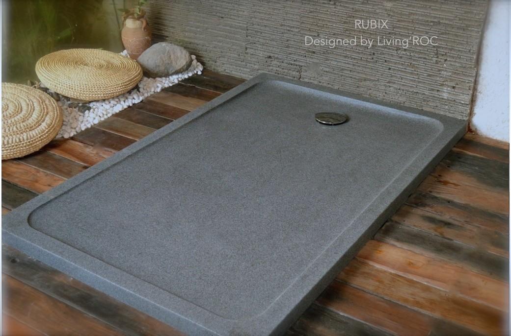 SECOND CHOIX Receveur de douche 120x90 en pierre taillé dans le granit - RUBIX