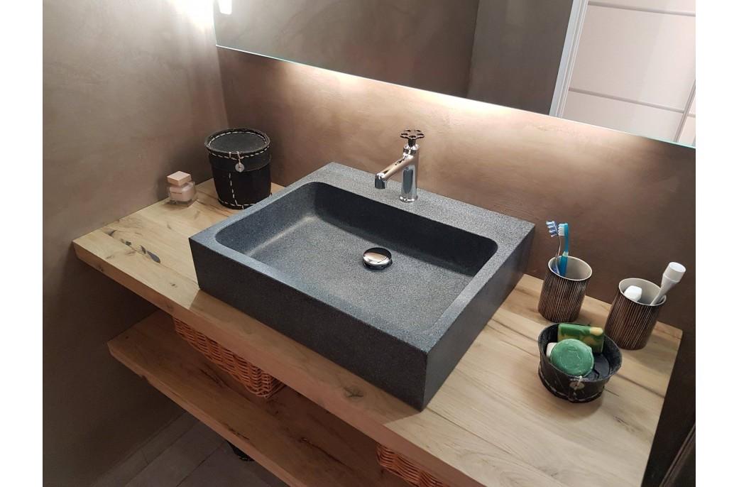 Vasque salle de bain évier granit gris trou robinetterie intégré ALPHA
