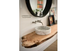 Vasque salle de bain à poser en pierre marbre blanc RONDO WHITE