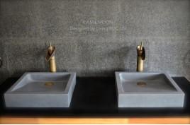 Vasque grise pierre de lave taillée dans la masse 40cm KIAMA MOON