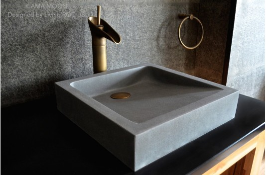 Vasque grise pierre naturelle taillée dans la masse 40cm KIAMA MOON