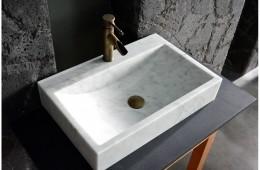 Vasque en pierre naturelle marbre blanc PEGASUS WHITE