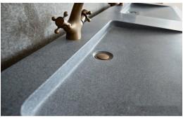 Double vasque en pierre 160x50 granit gris véritable FOLEGE