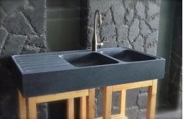 Évier en pierre Granit véritable 2 bacs + égouttoir 120x60 BESSO