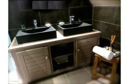 Vasque salle de bain évier pierre noire trou robinetterie PEGASUS SHADOW