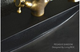 Vasque salle de bain évier granit trou robinetterie PEGASUS SHADOW