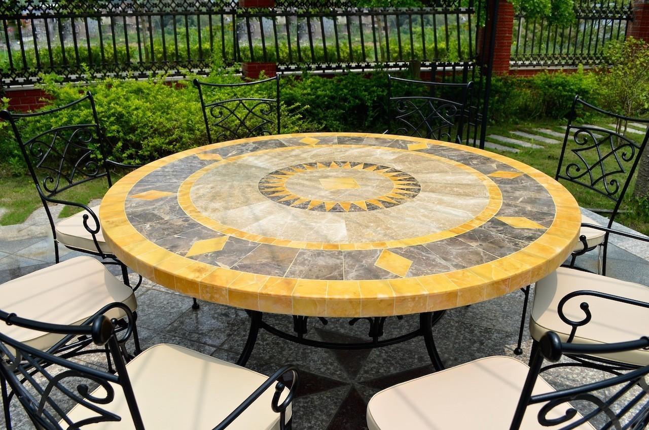 Table De Jardin Mosaique Ronde Pierre De Marbre 125cm Floride