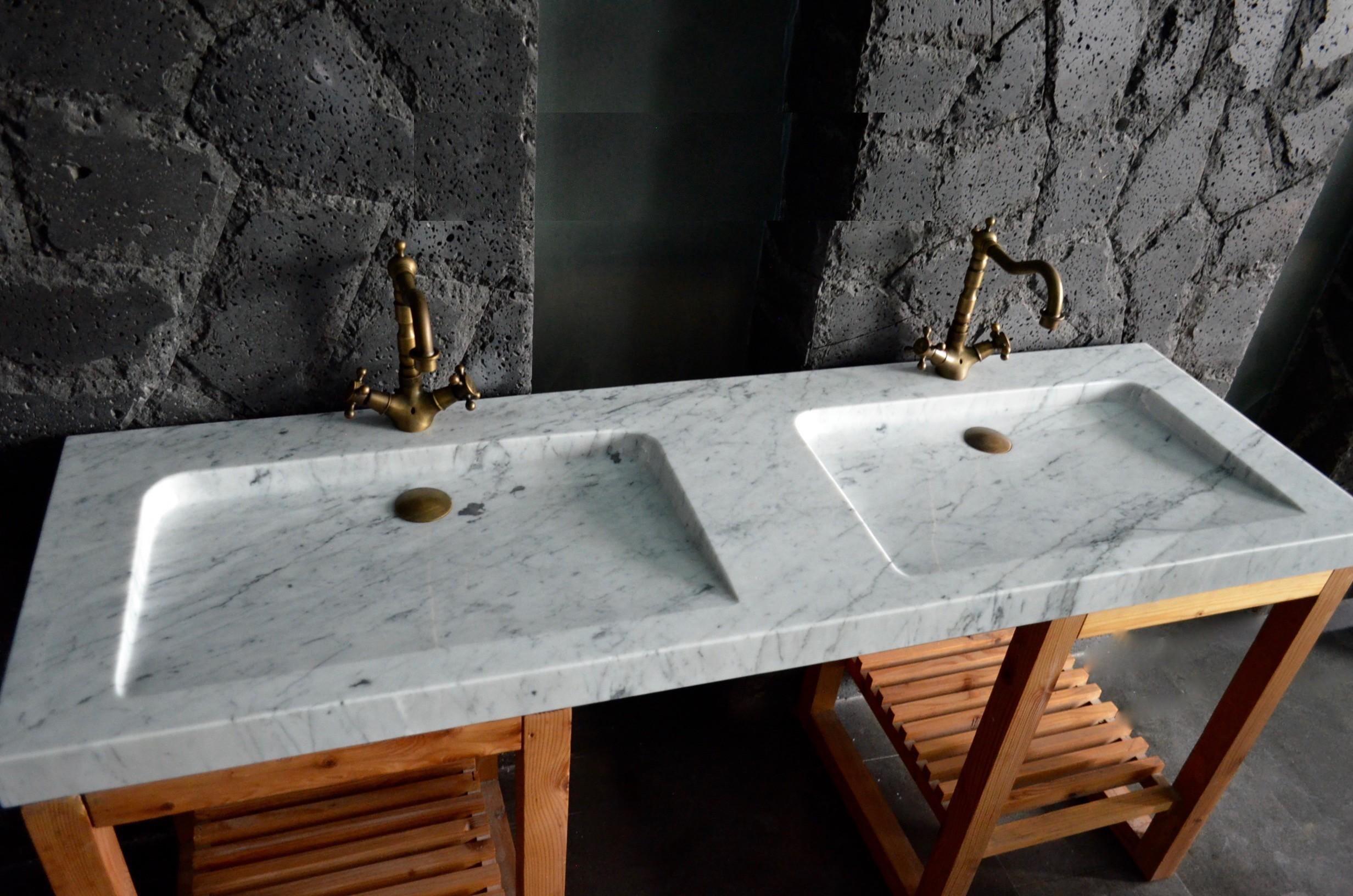 Double Vasque Salle De Bain Marbre De Carrare Folege White 160x50cm