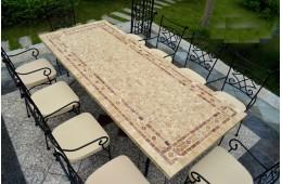Table mosaique pour Jardin en pierre naturelle 160-200-240 TOSCANE