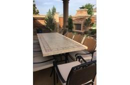Table de jardin mosaïque marbre pierre naturelle 120-160-200-240 TOSCANE