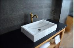 Vasque à poser pierre naturelle marbre Blanc TORRENCE WHITE